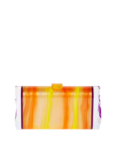 Lara Acrylic Backlit Ice Clutch Bag, Mango/Orchid