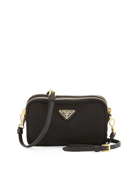Nylon Double-Compartment Crossbody Bag, Black (Nero)