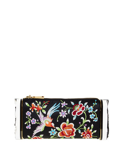 Soft Laura Embroidered Satin Clutch Bag, Black/Multi