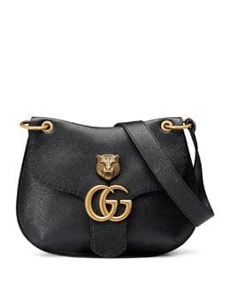 GG Marmont Leather Tiger Bag, Black (Nero)