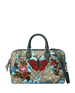 Linea A Butterfly Embroidered Boston Bag