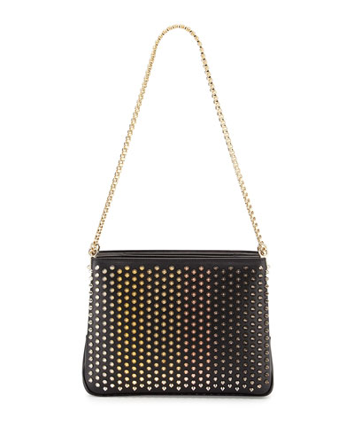 Triloubi Large Triple-Gusset Spiked Shoulder Bag, Black