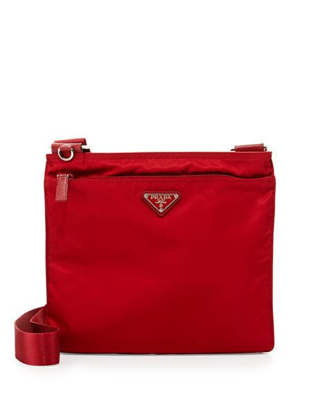 Prada Vitello Daino Zip-Top Crossbody Bag, Red (Rosso)