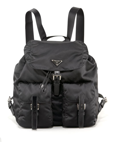 Medium Nylon Backpack, Black (Nero)