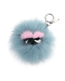 Mini Eyelash Monster Fur Charm for Handbag, Blue/Black/Pink