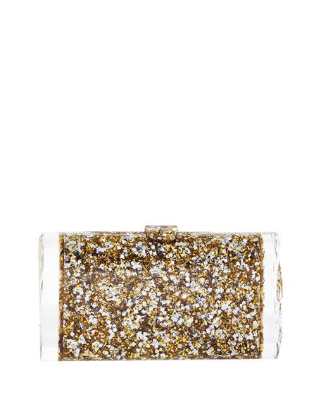 Lara Backlit Acrylic Clutch Bag, Gold/Silver