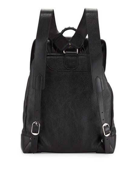 Metallic Edge Nickel Traveler Goatskin Backpack, Black