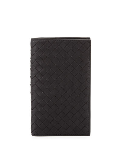 French Woven Leather Wallet, Black