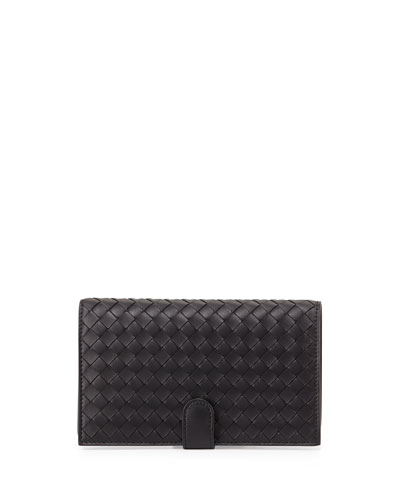 Woven Continental Wallet, Black