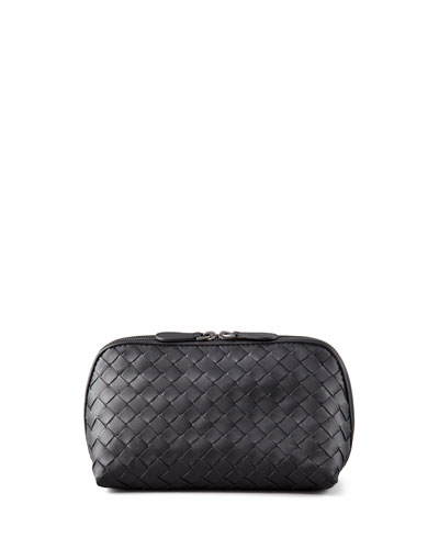 Woven Leather Medium Cosmetics Case, Black