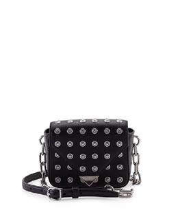 Prisma Mini Studded Leather Envelope Crossbody Bag, Black
