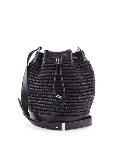 Woven Raffia Bucket Bag, Black