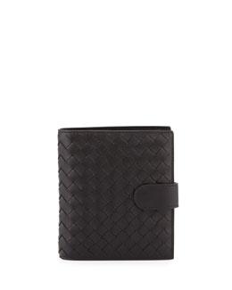 Small Intrecciato Leather Bifold Wallet, Black