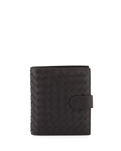 Small Intrecciato Leather Bifold Wallet, Black