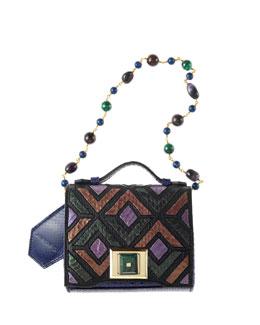 Colorblock Mini Briefcase Shoulder Bag, Green/Multi