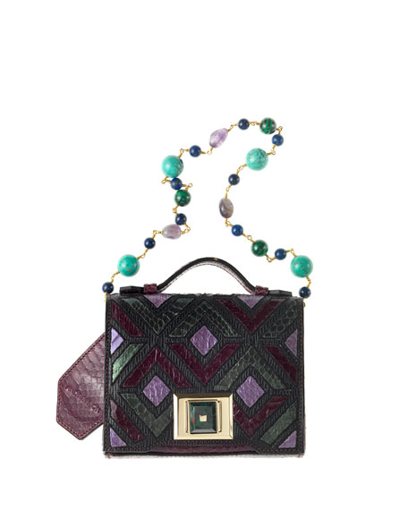 Colorblock Mini Briefcase Shoulder Bag, Purple/Multi