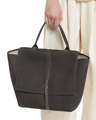 Nubuck Leather Tote Bag, Dark Gray