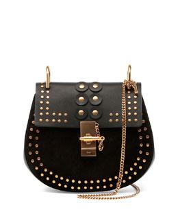 Drew Studded Suede & Leather Shoulder Bag