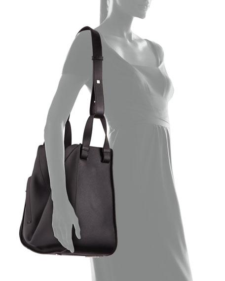 Solid Large Leather Hammock Bag, Black