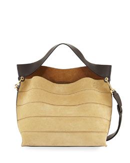 Strip Suede Shoulder Bag, Gold