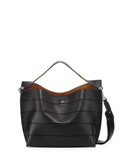 Solid Leather Striped Shoulder Bag, Black