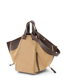 Hammock Small Suede Shoulder Bag, Gold