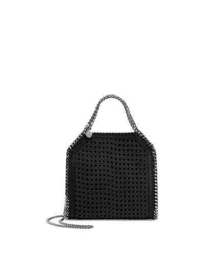Falabella Mini Wicker Tote Bag, Black