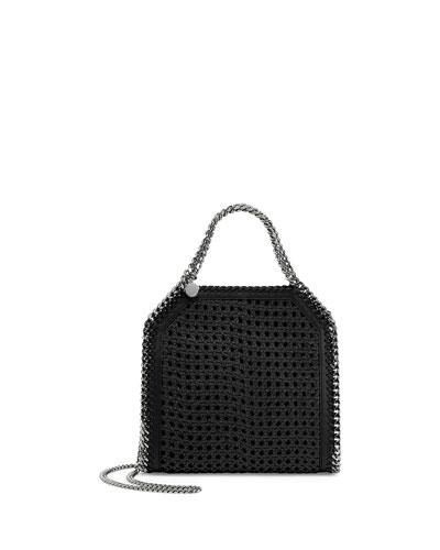 Falabella Mini Wicker Tote Bag, Black