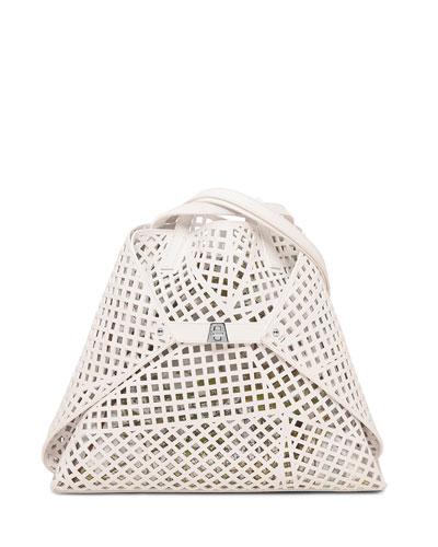 Ai Medium Laser-Cut Shoulder Bag, White