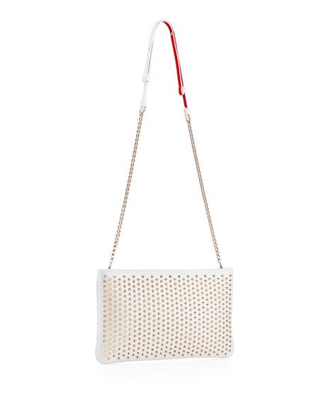 Loubiposh Spiked Clutch Bag, White