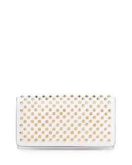 Macaron Flap Wallet with Spikes, White/Gold