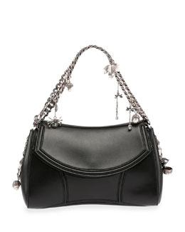 Medallion Leather Chain-Strap Shoulder Bag, Black