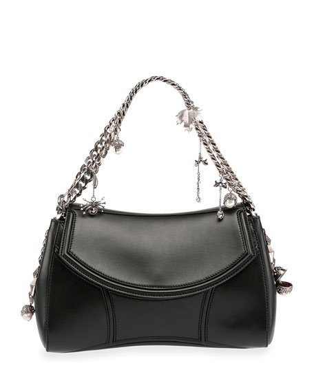 29dc17bd44c6 Alexander McQueen Medallion Leather Chain-Strap Shoulder Bag