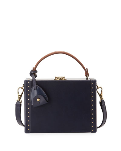 Mini Attaché Box Shoulder Bag, Navy