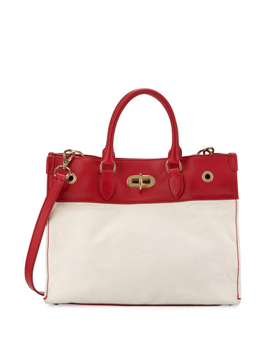 East-West Turn-Lock Canvas Tote Bag, Red
