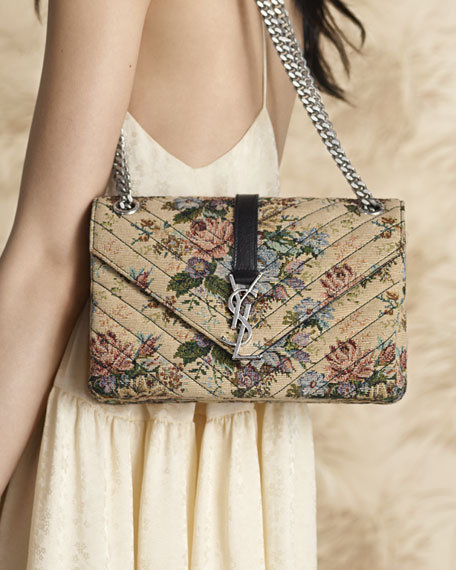 Saint Laurent Monogram Floral Jacquard Shoulder Bag Beige