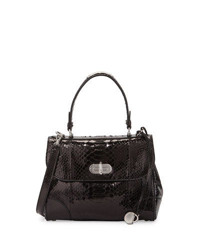 Tiffin 27 Python Satchel Bag, Black
