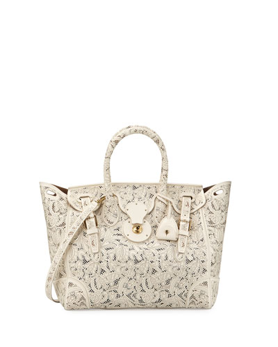 Soft Ricky 33 Lace-Cut Leather Satchel Bag, Cream