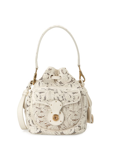 Mini Ricky Lace-Cut Leather Bucket Bag, Cream