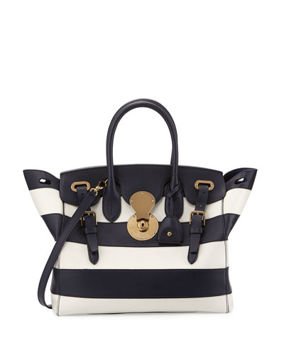 Soft Ricky 33 Striped Leather Satchel Bag, Cadet Navy/Cream