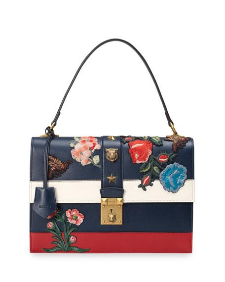 Embroidered Riche Stripe Shoulder Bag, Blue/Red