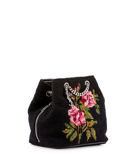 Saint Laurent Emmanuelle Woven Baby Bucket Bag Black Pattern
