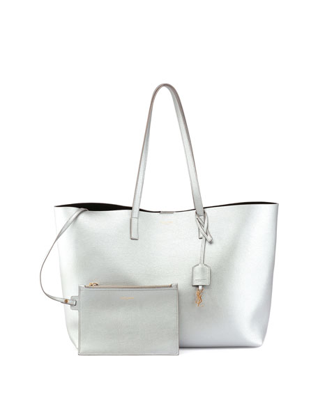 645413700 Saint Laurent Large Leather Shopping Tote Bag, Silver