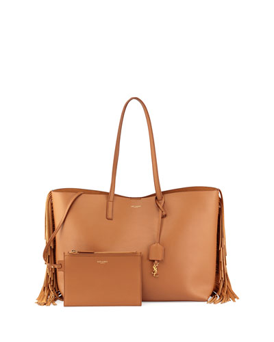 Large Calfskin Fringe Shopping Tote Bag, Tan