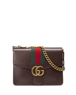 GG Marmont Leather Shoulder Bag, Fondente