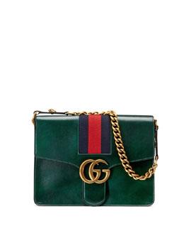 GG Marmont Leather Shoulder Bag, Green (Verde)