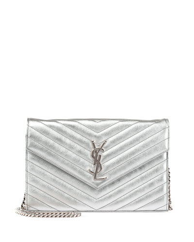 Monogram Matelasse Wallet on Chain, Platinum (Platine)