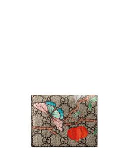 Tian GG Supreme Card Case, Beige/Red/Multi