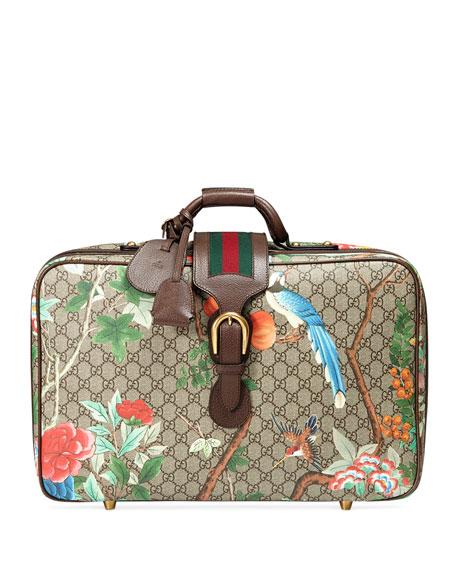 2feb7496fdcef3 Gucci Tian GG Supreme Suitcase, Beige