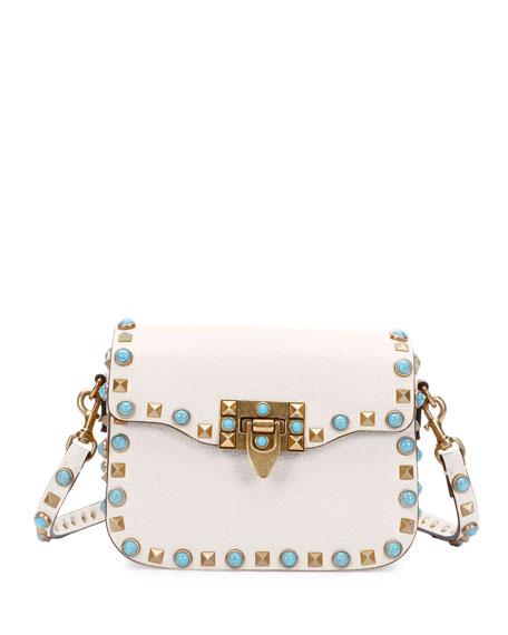 Rolling Rockstud Small Shoulder Bag, Ivory